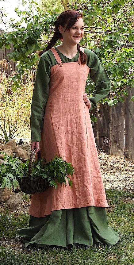 Gown, Viking apron, (Hangeroc), linen, MADE TO ORDER