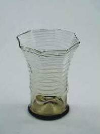 Beaker, hexagonal 15th to 17th C with swirled top