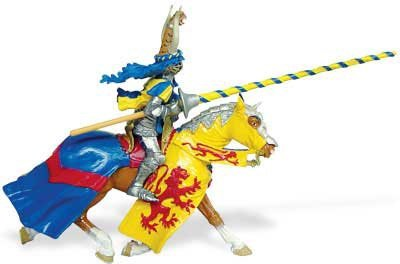 Knight and Horse, Blue, Gold & Red