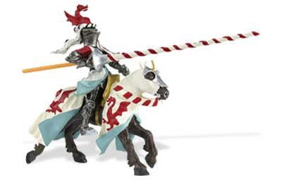 Knight and Horse, White & Red
