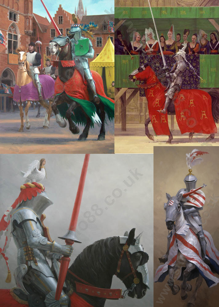 Graham Turner Jousting Notecards, Set of 4