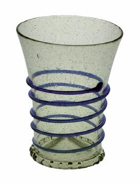 Beaker, blue spiral, 13-15th C.