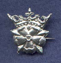 Pin, Pewter, Crowned Rose