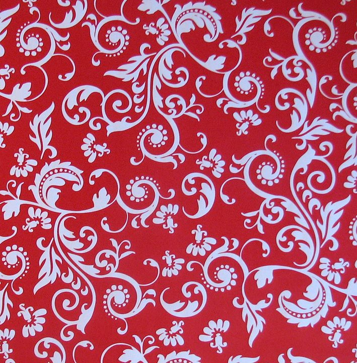 Gift wrap, Red/white floral
