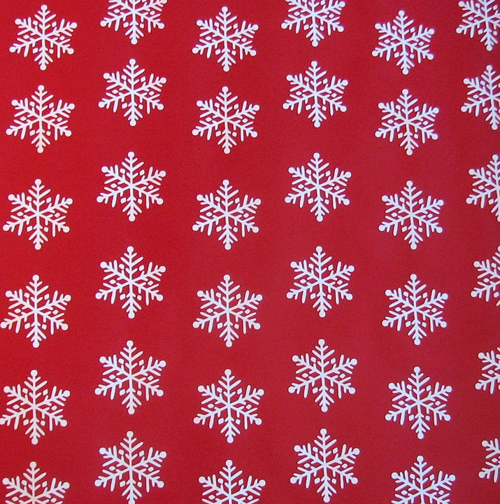 Gift wrap, Snowflakes on red